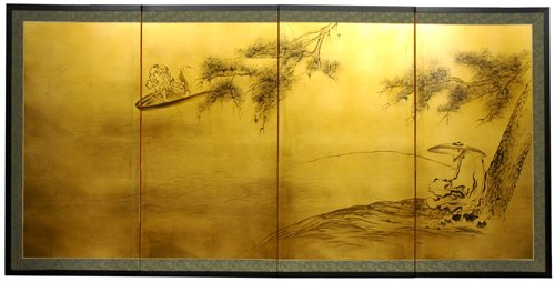 """Unique Beautiful Asian Wall Art, Home Décor, & Gifts - 36"""" x 72"""" Fishing Life Oriental Gold Leaf Wall Screen Painting"""