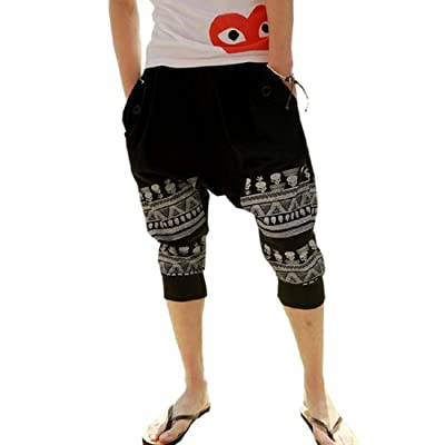 Mens Cotton Loose Harem Pants Printed Harem Calf-length Pants