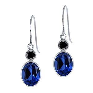 3.52 Ct Oval Blue Created Sapphire Black Diamond 14K White Gold Earrings