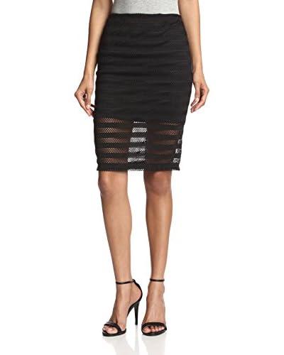 Lapis Women's Fishnet Stripe Skirt