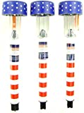 """Set of 6 Patriotic Plastic Solar Garden Lights with Stakes, 14¼"""""""