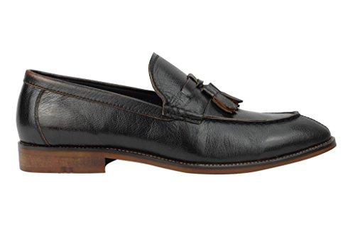 Da uomo in vera pelle marrone e marrone Smart Casual Tassel Mocassino Tacco a Vintage Mod guida scarpe, Marrone (Dark Chocolate), 45 EU