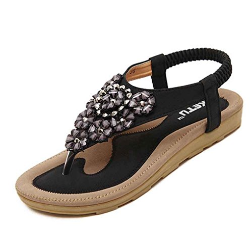 Start Women Summer Beaded Flower Flats Herringbone Sandals Beach Shoes (US=8, Black)