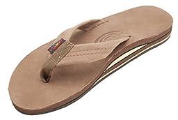 Rainbow Men\'s Premier Double Layer Leather Sandals, Large, Dark Brown, US Sizes 9.5-10.5
