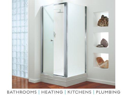 Coram Premier 800mm Frameless Swing Pivot Shower Door Enclosure Polished Silver / Satin Glass