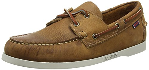 Sebago Docksides Scarpe da barca, Uomo, Marrone (Brown/White O/Sole), 45 EU