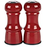 Trudeau 4-1/2-Inch Metal Salt And Pepper Shakers, Red-Colored Finish