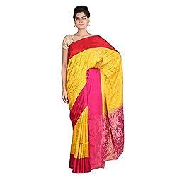 Indian Artizans Yellow Pure Silk Uppada Jamdani Saree