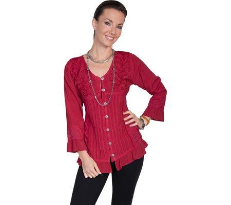 scully-womens-honey-creek-josephine-tie-back-blouse-burgundy-blouse-2xl