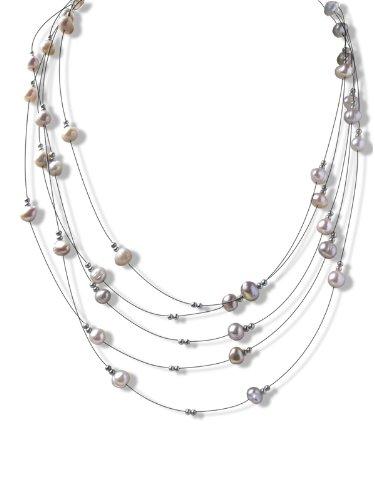 Five Strand Lavender Illusion Pearl Necklace SKU#: -nk137