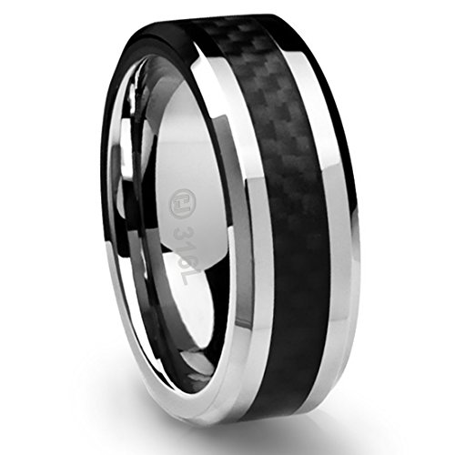 8MM Stainless Steel Promise Engagement Rings for Men | Wedding Bands for Him | Black Carbon Fiber Inlay [Size 12] (Carbon Fiber Stainless Steel Ring compare prices)
