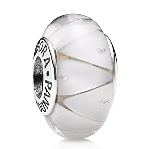 Pandora - 790921 - Drops Femme - Argent 925/1000 - Verre de Murano - Blanc
