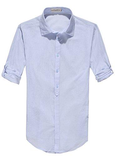 NITAGUT Men's Cotton Linen Blend Shirts Light Blue-US XL (Light Blue Linen Shirt compare prices)
