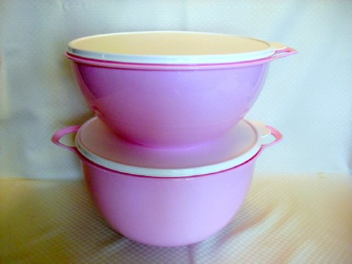 Tupperware Double THATSA 32c + MEGA 42c Mixing Bowls Set NEW Pink (Extra Large Tupperware Bowl compare prices)