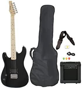 left handed beginner black electric guitar package with amp case picks strap value. Black Bedroom Furniture Sets. Home Design Ideas