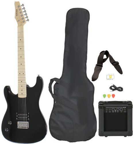 Left Handed Beginner Black Electric Guitar Package with Amp Case Picks Strap Value Pack