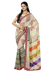 Prafful Gorgette Printed Saree With Unstitched Blouse - B00KNUQJ98