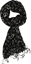 Peace Sign Scarf Light All Season, Black