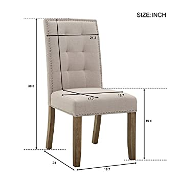 Merax Set of 2 Stylish Tufted Upholstered Fabric Dining Chairs with Nailhead Detail and Solid Wood Legs (Beige)