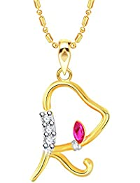 """VK Jewels Alphabet With Ganesh Initial Letter """"R"""" Gold And Rhodium Plated Alloy Pendant With Chain For Men & Women..."""