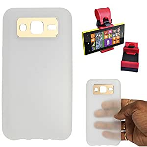 DMG iFace Scratch-Resistant Slim Silicone Shock Proof TPU Back Cover Case for Samsung Galaxy J5 J500 (White) + Car Steering Holder