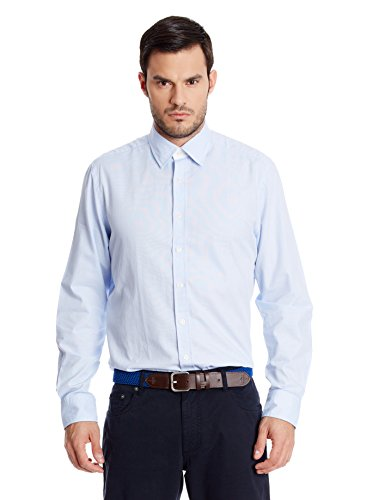Hackett London - Micro Grid Multi Trim, Camicia da uomo, (céleste), L