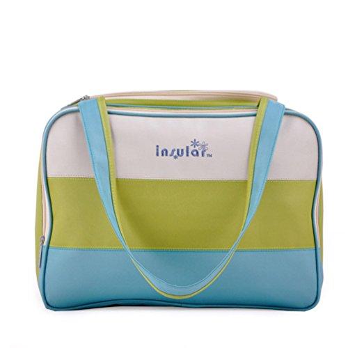 L.Sense Large Multi-function Nylon Tote Top Handles Baby Diaper Bag Set of 3 (Lemon Green)