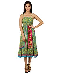 Ethnic Polyester Floral Dress Green Printed Medium For Girl's By Rajrang