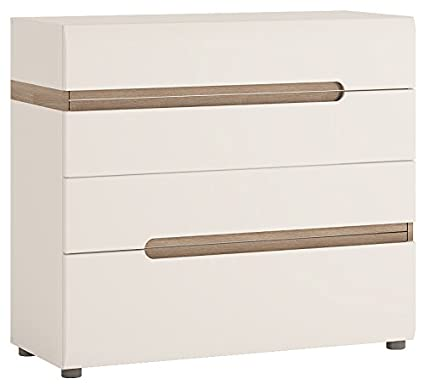 Furniture To Go Chelsea 4-Drawer Chest, 96 x 87 x 42 cm, White Gloss