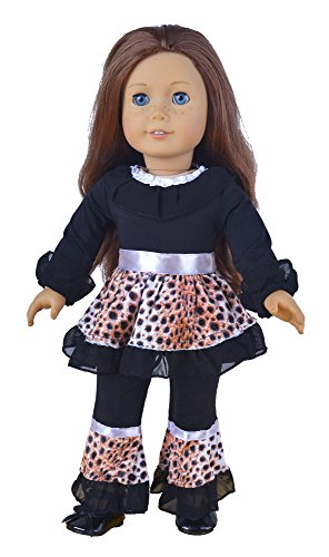 Ebuddy 2pc Include Black Leopard Top Pants Fits 18 Inch Girl Dolls - 1
