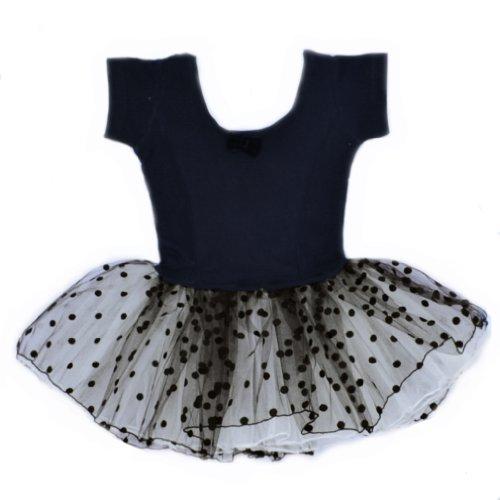 Bhl Girls Dance Dresses 2-7Y Short Sleeve Polka Dot (3-4Y, Black) front-10612