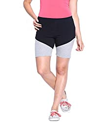 Espresso Solid Women's Basic Shorts-BLACK AND GREY