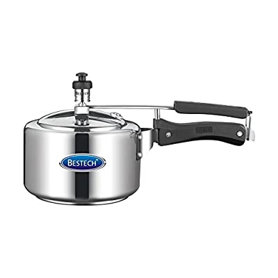 Bestech Aluminium Pressure Cooker, 5 Litres, Silver & Black