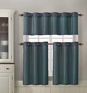 3 Piece Kitchen Curtain Set 1 Valance 2 Tiers Metal Grommets Slate Home Kitchen