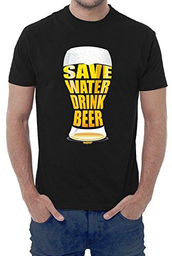 T-shirt uomo divertente SAVE WATER DRINK BEER - maglietta umoristica 100% cotone JHK_Fermento Italia (48-50 XL EU Uomo, Nero)
