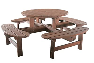 FoxHunter Garden Patio 8 Seater Wooden Pub Bench Round Picnic Table Outdoor Indoor Home Park furniture Brown New