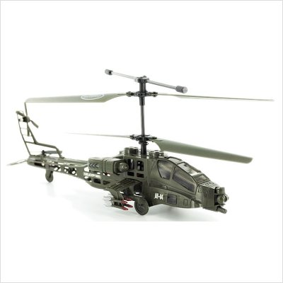 RC Toys Village New Model Apache Military 3CH RC Helicopter - Bonus 1 Motor, Value of $10 -