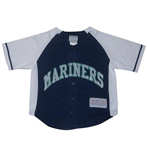 Mlb Seattle Mariners Ichiro #51 Boys Button Down Baseball Jersey Xs(4/5) Dark Blue & White front-1001871