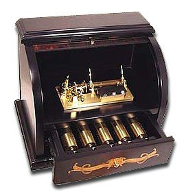 Extravagant Burlwalnut Roll-Top Musical 5 Cylinder 50 note Reuge Music Box