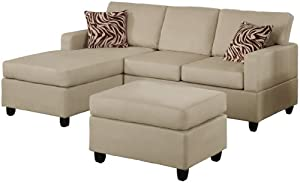 Bobkona Manhattan Reversible Microfiber 3-Piece Sectional Sofa Set, Mushroom