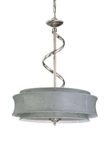 Nuvo Lighting 60/3872 Darwin 3-Light Pendant with Grey Fabric Shade and Frosted Diffuser, Brushed Nickel