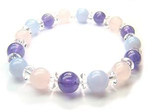Blue Lace Agate Clear Quartz Amethyst Rose Quartz Natural Crystal Bead Bracelet 10