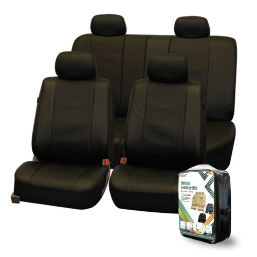 FH-PU007114 Deluxe Leatherette Car Seat Covers, Airbag compatible and Rear Split, Black color