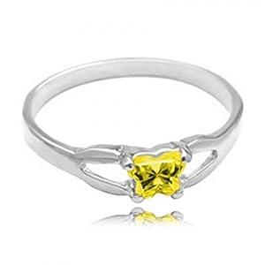 Sterling Silver Kid'S November Yellow Green Cubic Zirconia Birthstone Ring Bfly