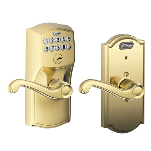 Schlage Fe576 Cam 505 Fla Cam Built-In Alarm, Camelot Collection Keypad Flair Lever Door Lock, Bright Brass
