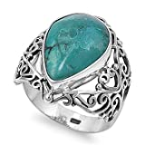 Little Treasures Rhodium Plated Sterling Silver Wedding & Engagement Ring Turquoise Ladies Ring 23MM