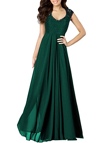 Miusol Women's Casual Deep- V Neck Sleeveless Vintage Maxi Black Dress (Large, Green)