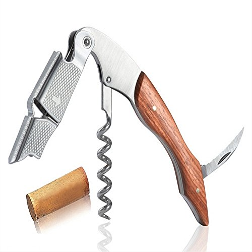 Waiters Corkscrew By Hicoup - Premium Wood Handle All-In-One Corkscrew, Bottle Opener And Foil Cutter front-989008