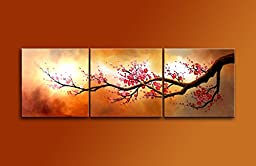Ode-Rin Hand Painted Cherish Art Mordern Oil Paintings Blooming Red Plum flowers Tree 3 Panels Wood Inside Framed Hanging For Home And Wall Decoration
