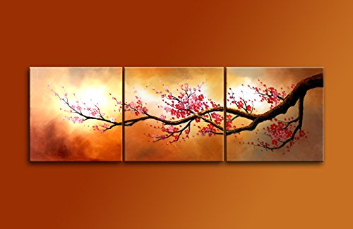 Cherish Art Hand Painted Mordern Oil Paintings Blooming Red Plum flowers Tree 3 Panels Wood Inside Framed Hanging For Home And Wall Decoration.